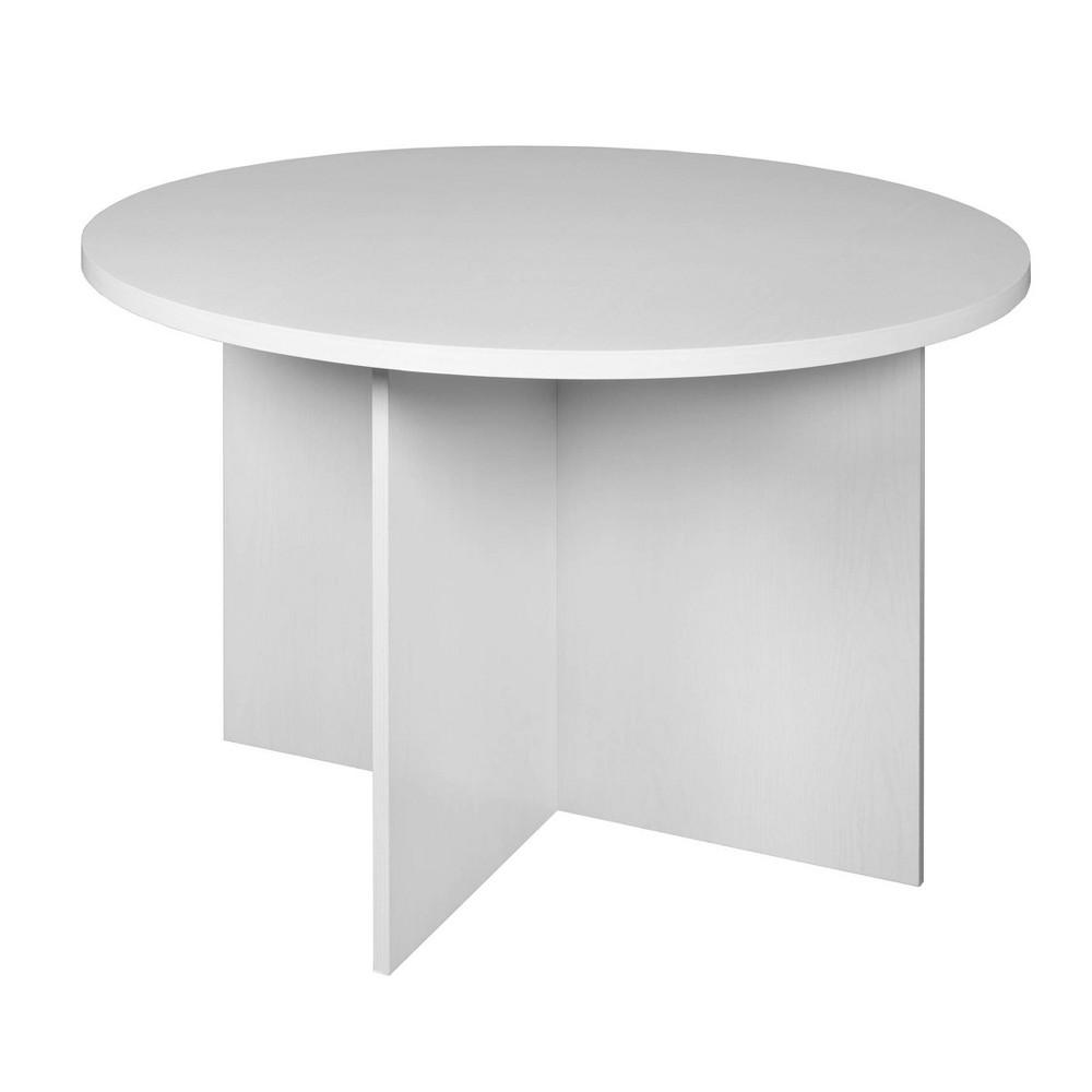 "Image of ""42"""" Lenox Round Table White Wood Grain - Niche"""