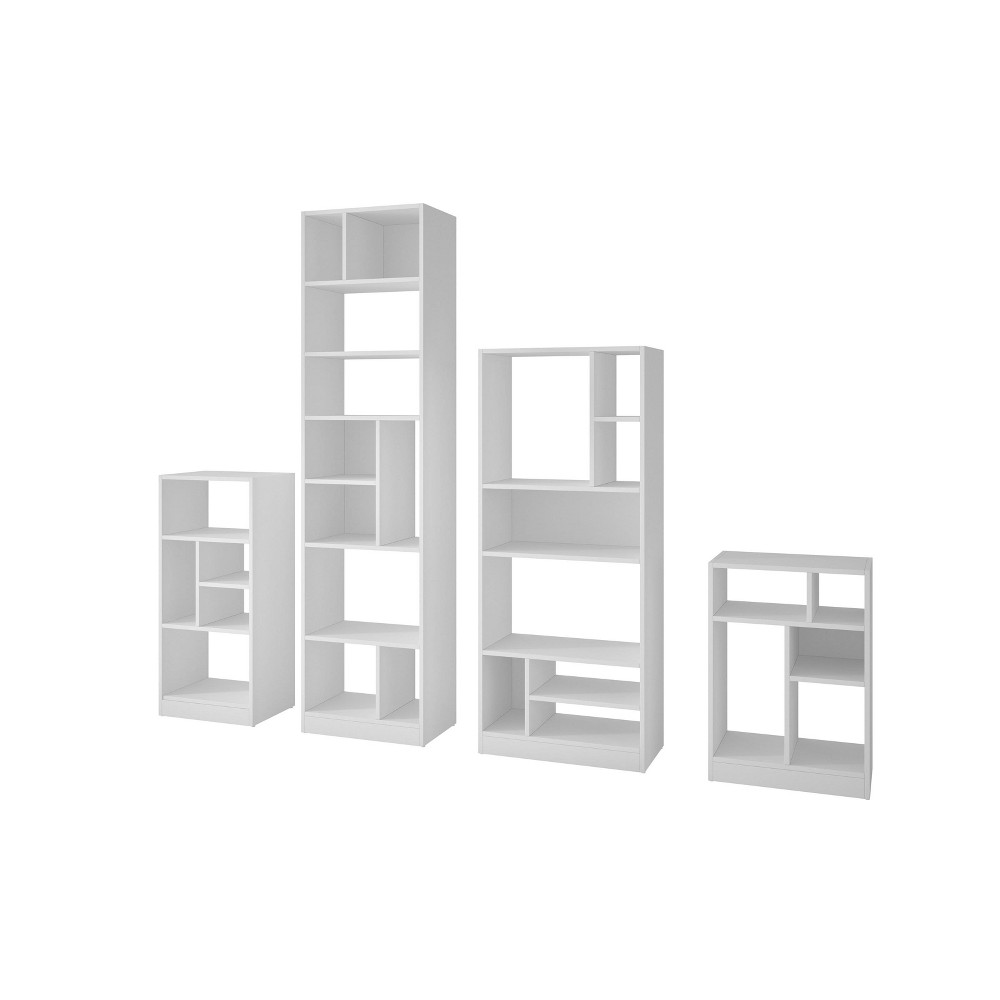 4pc Valenca Bookcase Set White - Manhattan Comfort