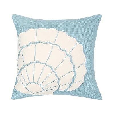 "C&F Home 18"" x 18"" Shell Burlap Applique Pillow"