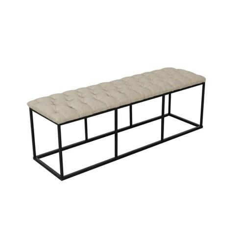 Remarkable Draper Bench With Button Tufting Tan Homepop Inzonedesignstudio Interior Chair Design Inzonedesignstudiocom