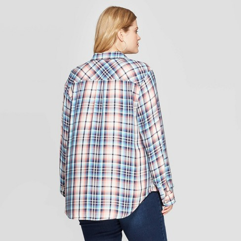 8220be93 Women's Plus Size Plaid Long Sleeve Collared Button-Down Shirt - Universal  Thread™