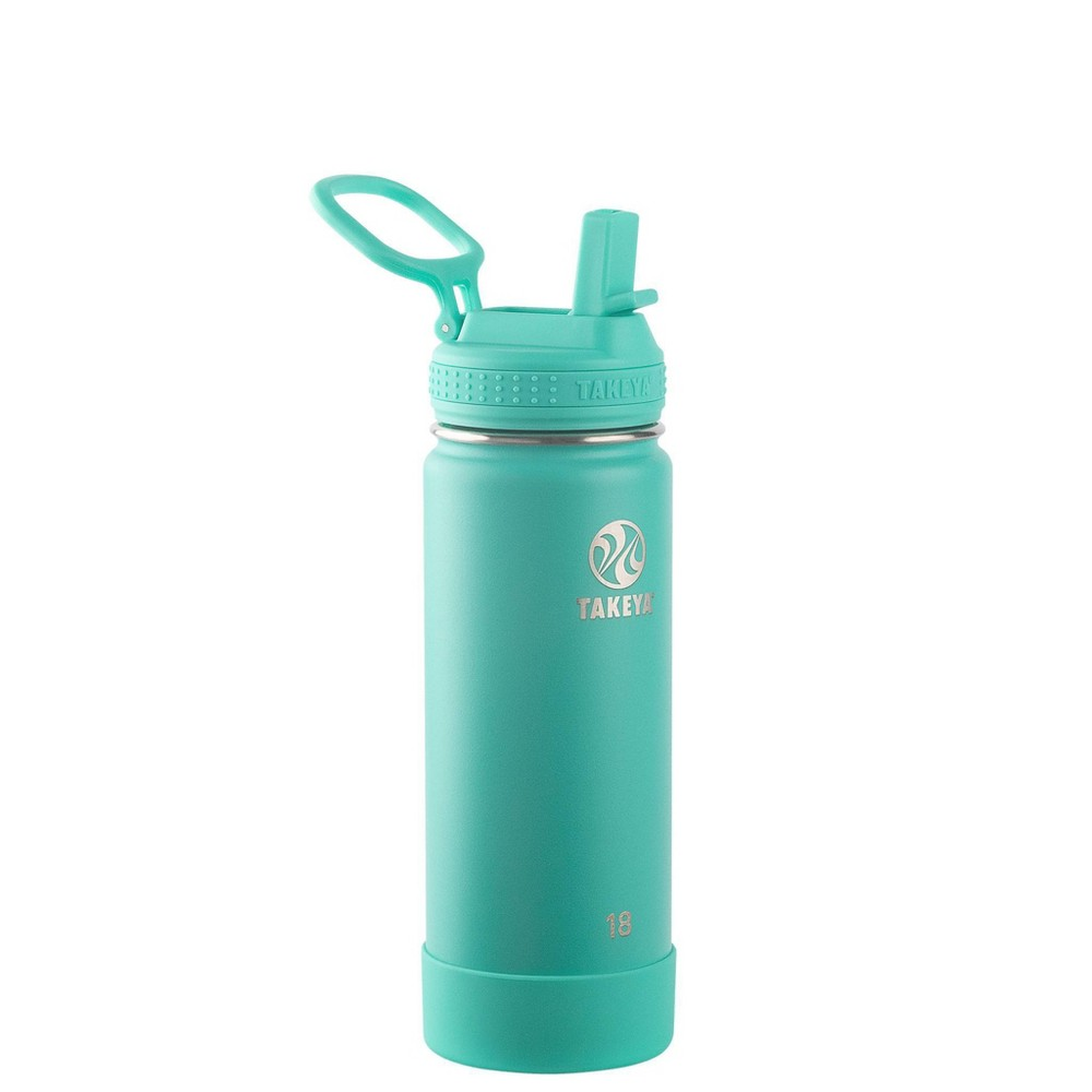 Takeya 18oz Actives Insulated Stainless Steel Water Bottle With Straw Lid Teal