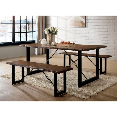 3pc Iohomes Kopec Industrial Style Dining Table Set Walnut Homes Inside Out Target
