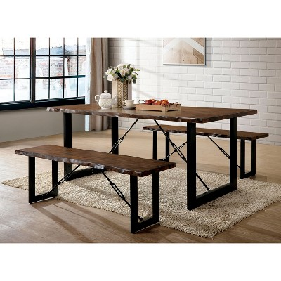 Merveilleux Iohomes Kopec Industrial Style Dining Table 3pc Set Walnut   HOMES: Inside  + Out