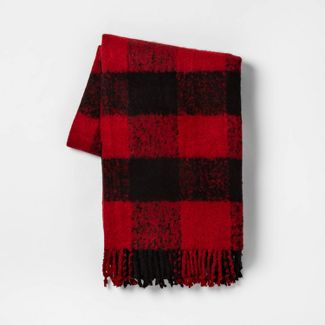 Buffalo Check Faux Mohair Throw Blanket Black/Red - Threshold™