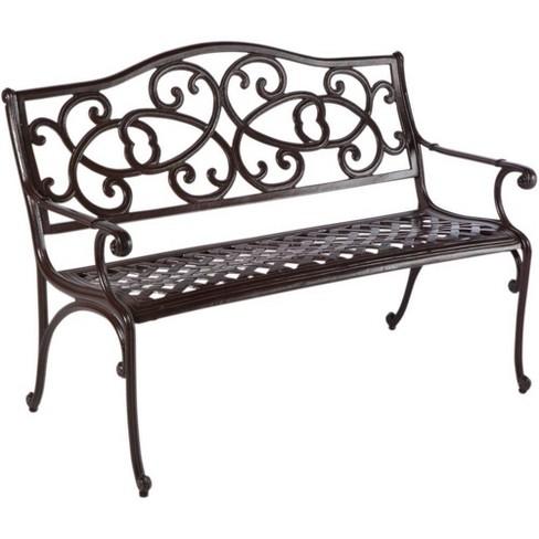 Wisteria Cast Aluminum Outdoor Bench, Black Cast Aluminum Garden Bench