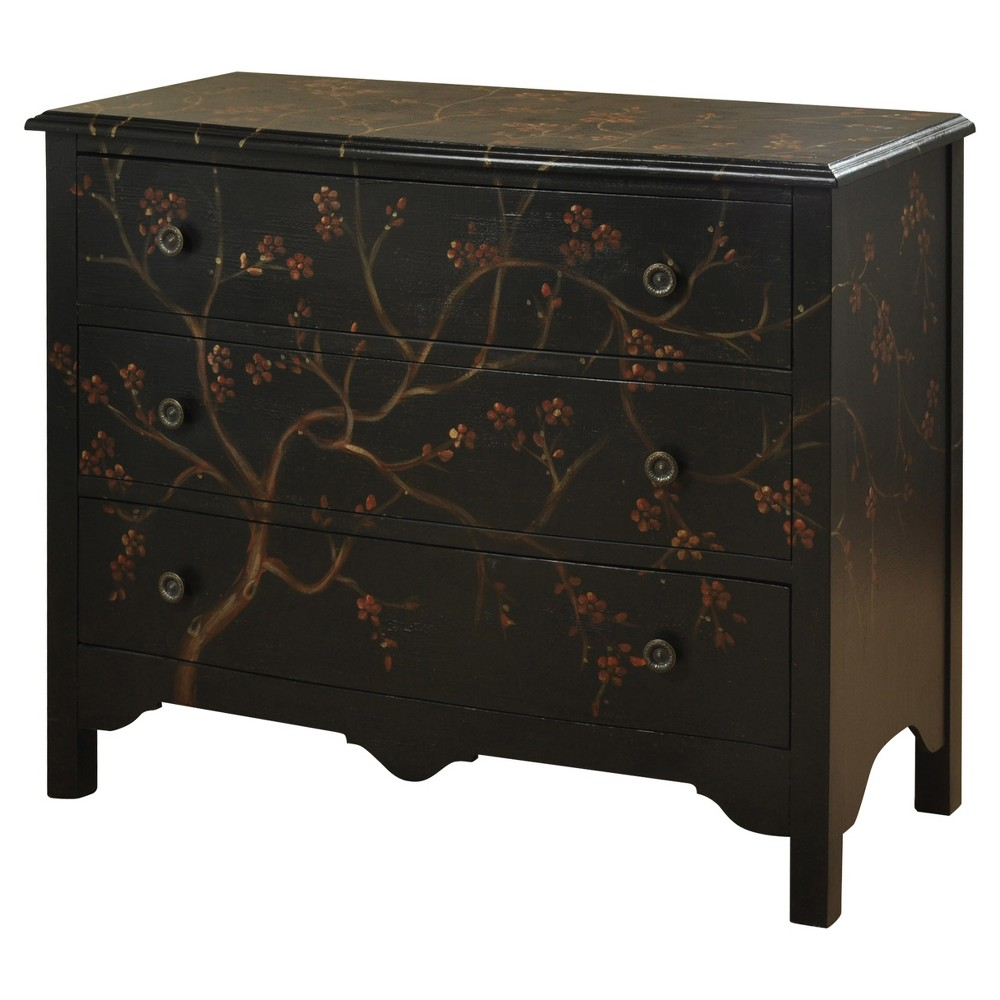Hand Painted Three Drawer Traditional Chest - Black - Stylecraft