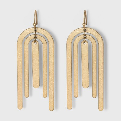 Bar and U Shape Drop Earrings - Universal Thread™ Gold