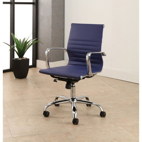 Jackson Silver Finish Leather Office Chair Navy Blue Abbyson Target