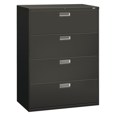 "HON® 600 Series 4 Drawer File Cabinet 42""w x 19.25""d Charcoal - image 1 of 1"