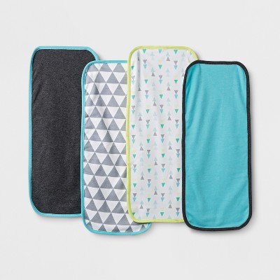 Baby Boys' 4pk Geo Bright Burp Cloth Set - Cloud Island™ Charcoal Heather