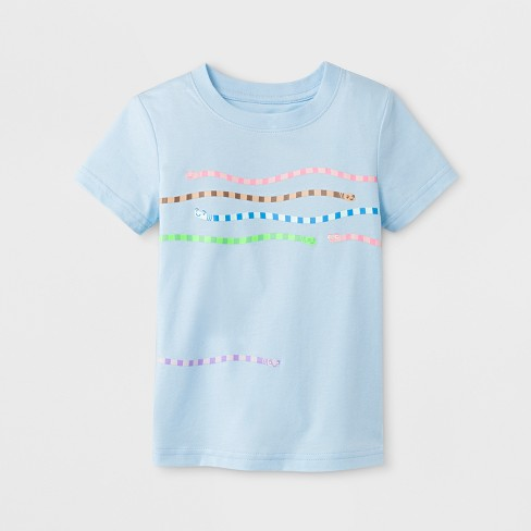Toddler Boys' Stripe Short Sleeve T-Shirt - Cat & Jack™ Light Blue - image 1 of 1