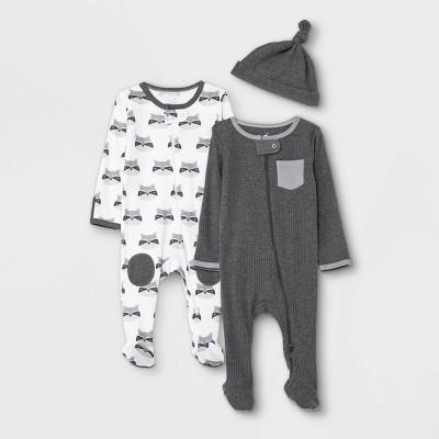 Baby 2pk Raccoon Sleep N' Play with Hat - Cloud Island™ Dark Gray