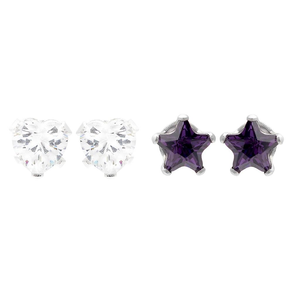 1 2/5 CT. T.W. Star-cut CZ Prong Set Stud Earrings Set in Sterling Silver - Dark Purple/White, Girl's
