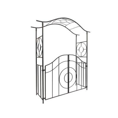 "84"" Iron Tuscany Garden Arbor with Gate Graphite Powder Coated Finish - Achla Designs"