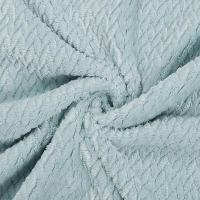 1 Pc Queen Polyester Flannel Fleece Bed Blankets Aqua  - PiccoCasa