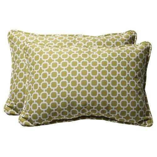 'Outdoor 2-Piece Lumbar Toss Pillow Set - Green/White Geometric 24'''
