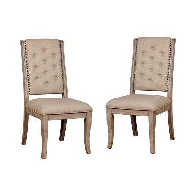 Set of 2 Medina Tufted Wood Dining Side Chair Natural - HOMES: Inside + Out