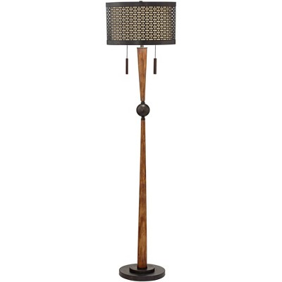 Franklin Iron Works Mid Century Modern Floor Lamp Cherry Wood Perforated Metal Cream Linen Double Shade for Living Room Bedroom