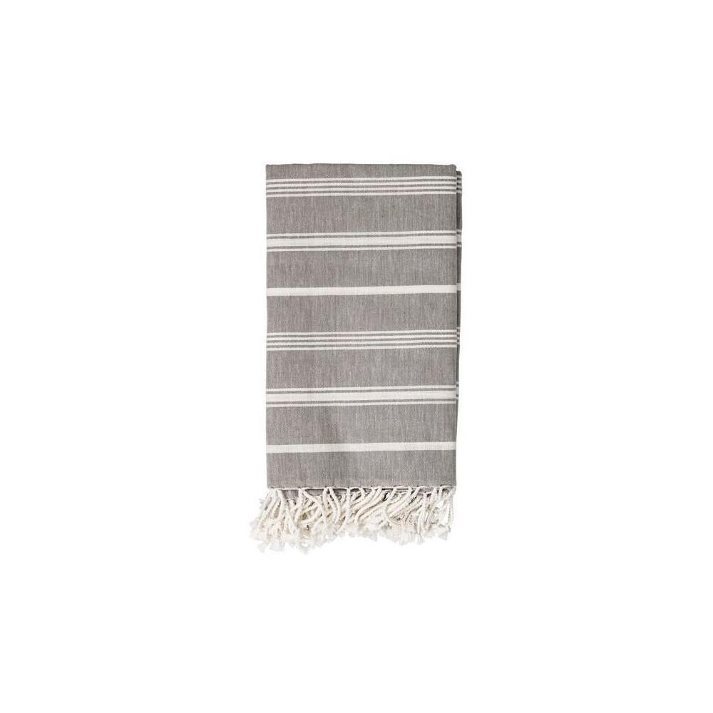 Cotton Throw Blanket - Gray with White Stripes - 3R Studios