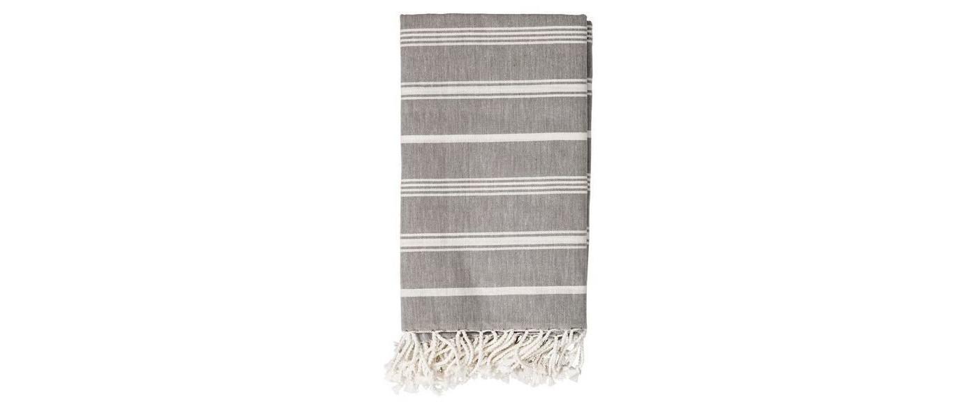 Cotton Throw Blanket - Gray with White Stripes - 3R Studios - image 1 of 1