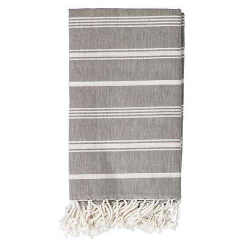 bd2111ee8 Cotton Throw Blanket - Gray with White Stripes - 3R Studios