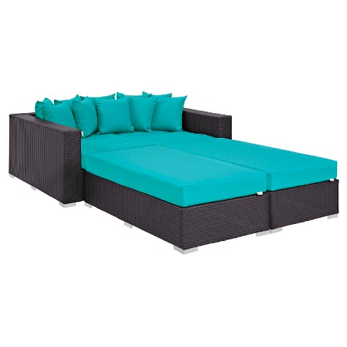 Convene 4pc All-Weather Wicker Patio Daybed - Espresso/Turquoise - Modway - image 1 of 7