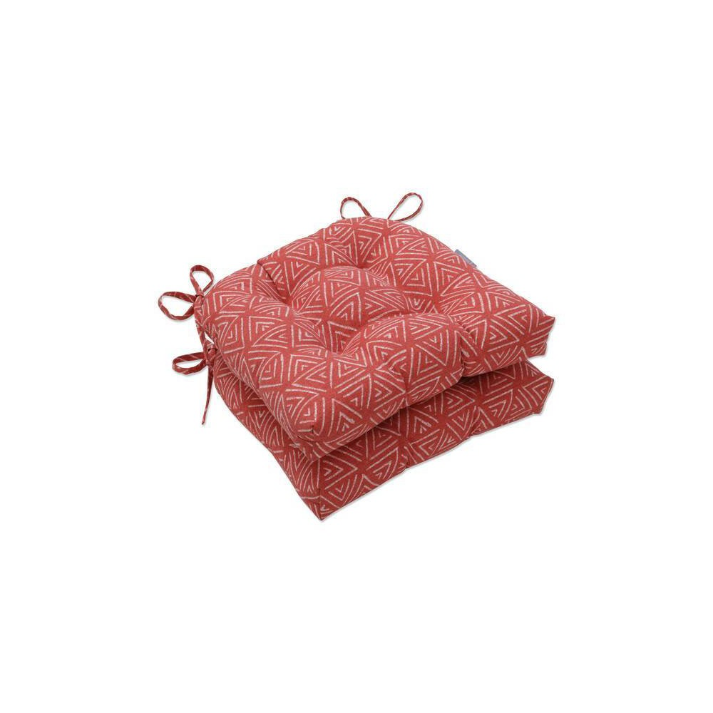 2pc Outdoor Indoor Reversible Chair Pad Kuka Flame Red Pillow Perfect