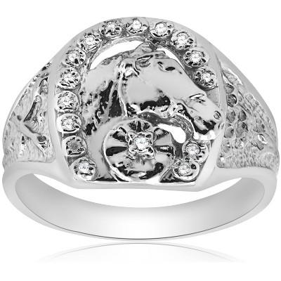 Pompeii3 Mens Diamond Lucky Horseshoe Ring 10K White Gold