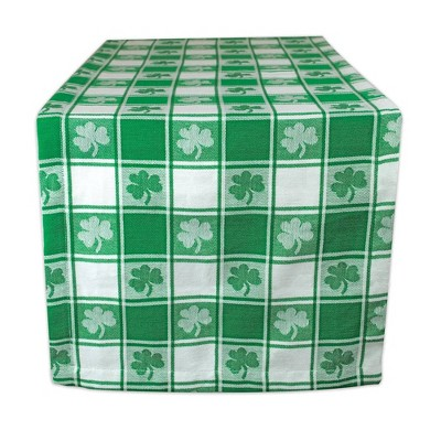 """72"""" x 14"""" Cotton Woven Check Table Runner Green - Design Imports"""