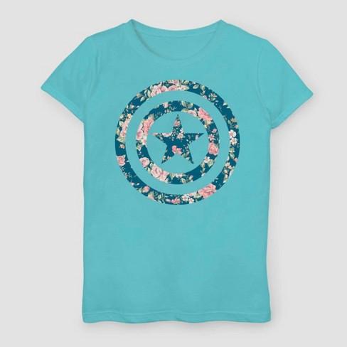 Girls' Marvel Captain America Floral Short Sleeve T-Shirt - Aqua Blue - image 1 of 1