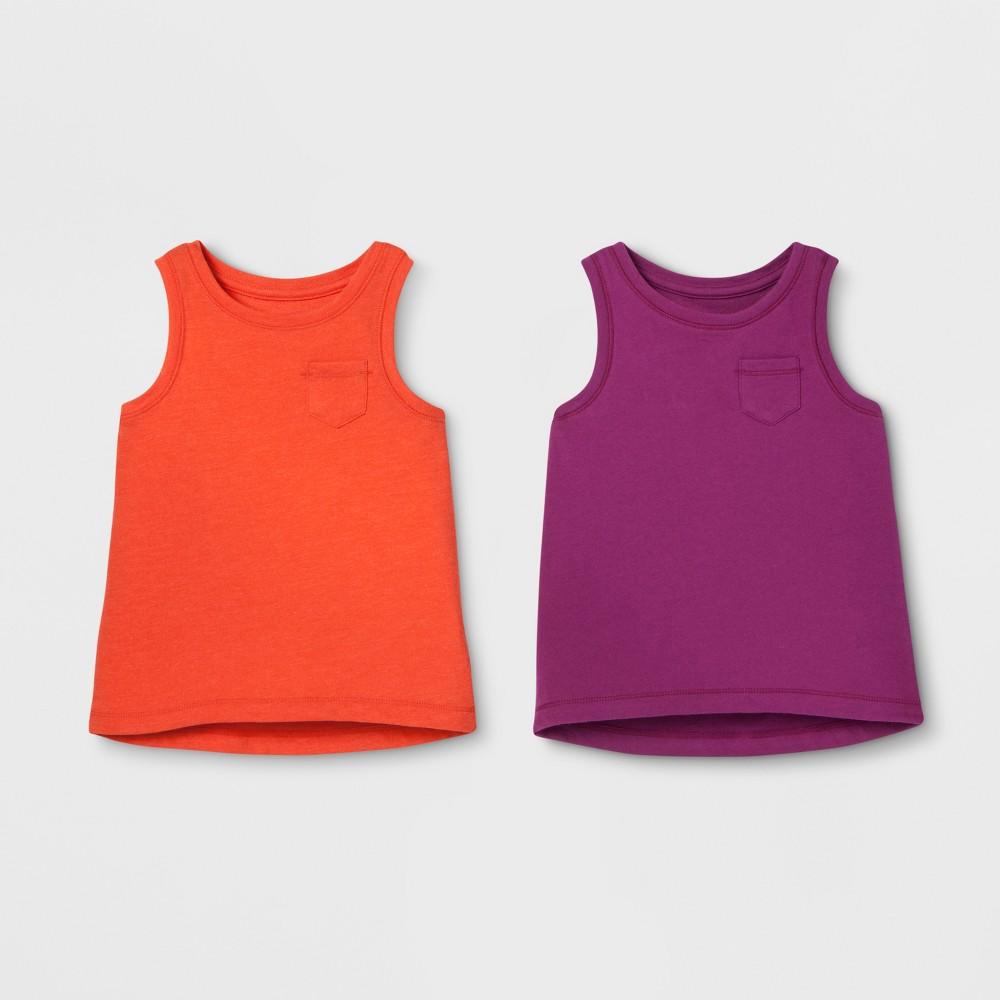 Toddler Girls' 2pk Sleeveless T-Shirt Set - Cat & Jack Orange/Purple 12M