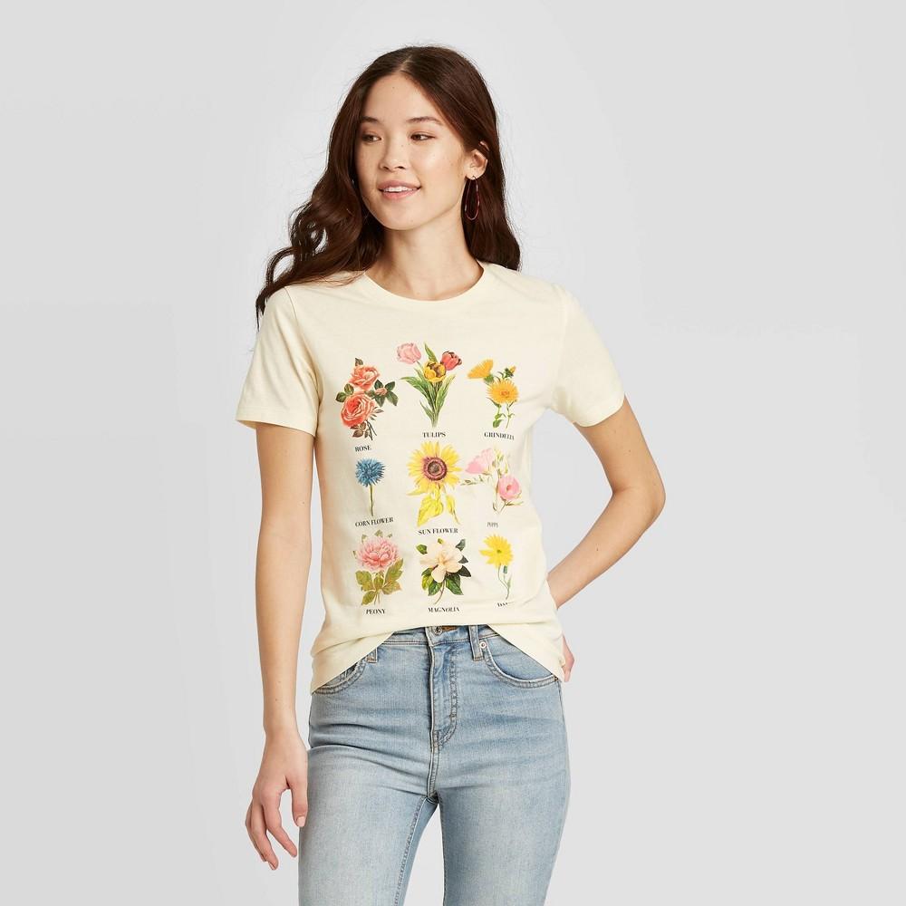 Womens Botanical Flowers Short Sleeve Graphic T-Shirt - Fifth Sun (Juniors) - Beige XS