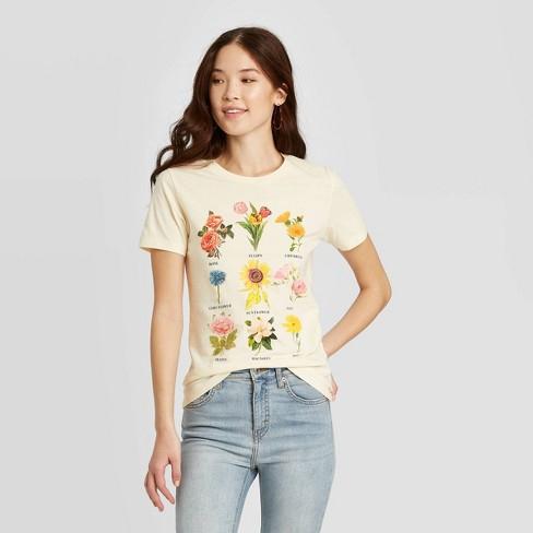 Women's Botanical Flowers Short Sleeve Graphic T-Shirt - Fifth Sun (Juniors') - Beige - image 1 of 2