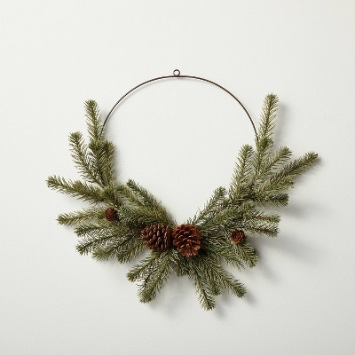 """12"""" Asymmetrical Faux Pine Wire Wreath with Pinecones - Hearth & Hand™ with Magnolia"""