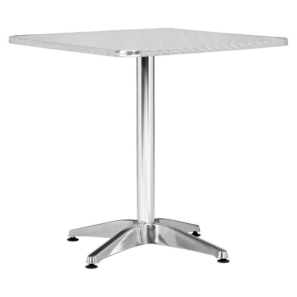 Modern Square Outdoor Polished Aluminum (Silver) 27.5 Cafe Table - ZM Home