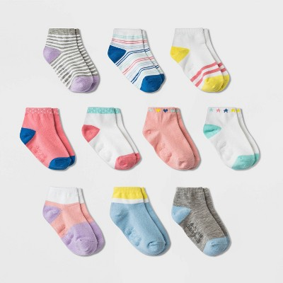 Toddler Girls' 10pk Ankle Socks - Cat & Jack™ Pink
