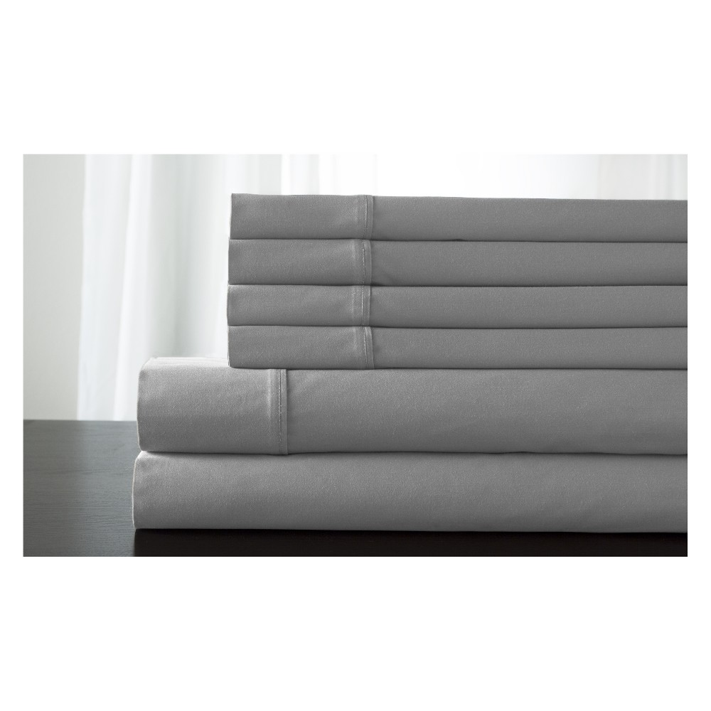 Image of King 800 Thread Count 6pc Kerrington Cotton Sheet Set Gray - Elite Home Products