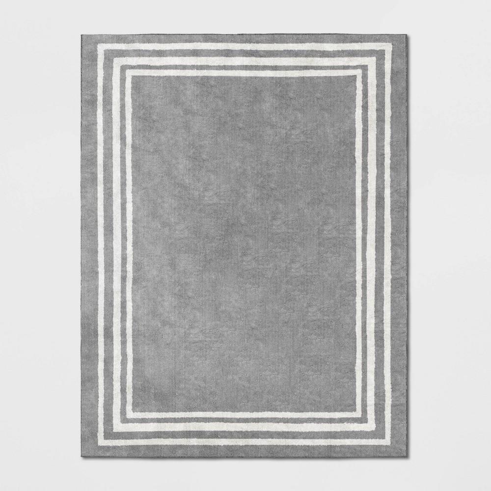 Tetra Boarder Rug Gray/Ivory