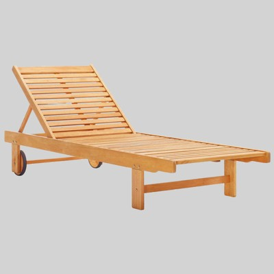 Hatteras Outdoor Patio Eucalyptus Wood Chaise Lounge Chair - Natural - Modway