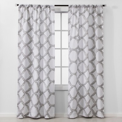 2pc 84 x40  Geometric Light Filtering Window Curtain Panels Gray - Threshold™