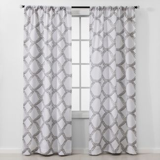 "Set of 2 84""x40"" Geometric Light Filtering Window Curtain Panels Gray - Threshold™"