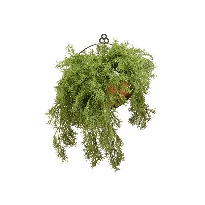 National Tree Company Indoor and Outdoor 20 Inch Artificial Pine Branch Hanging Plant with Easy Install Wire Frame Basket, 20 Inches Tall
