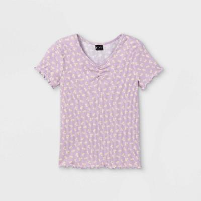 Girls' Cinch Front Lettuce Edge Short Sleeve T-Shirt - art class™