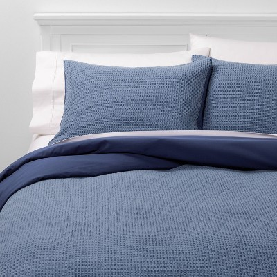 Full/Queen Washed Waffle Weave Duvet & Sham Set White - Threshold™