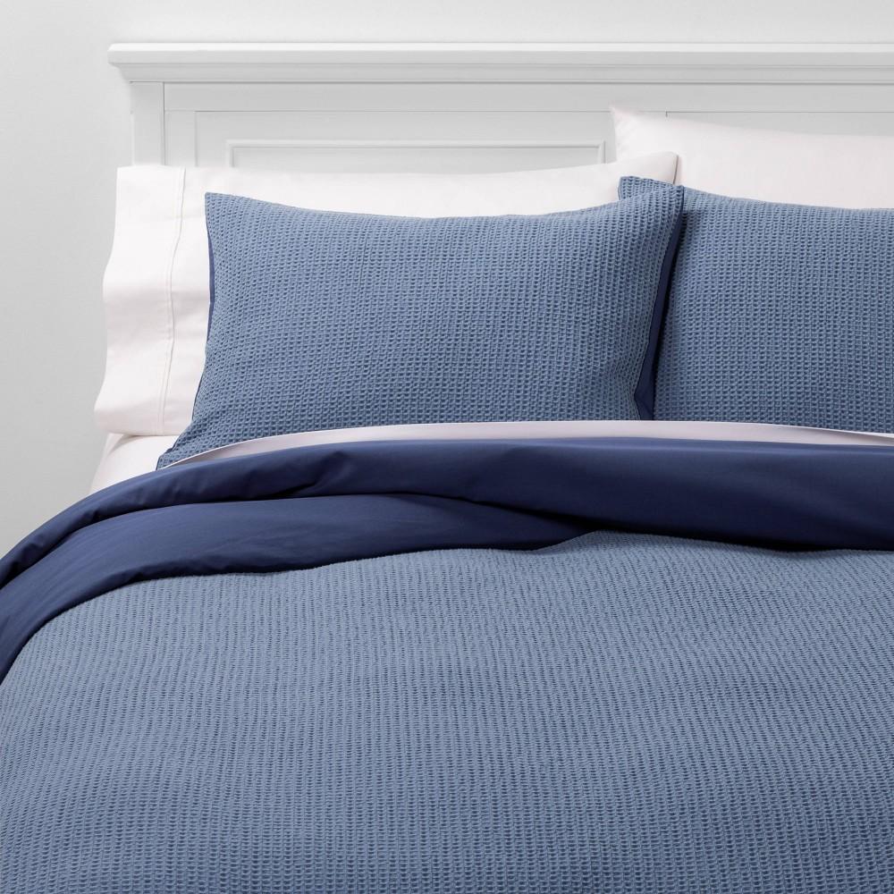 Image of King Washed Waffle Weave Duvet Cover & Sham Set Blue - Threshold
