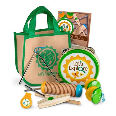 Melissa & Doug Let's Explore Camp Music Wooden and Metal Instruments Play Set