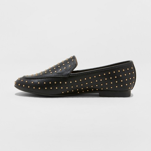 66a04011b33 Women's Yari Faux Leather Studded Loafers - A New Day™ Black