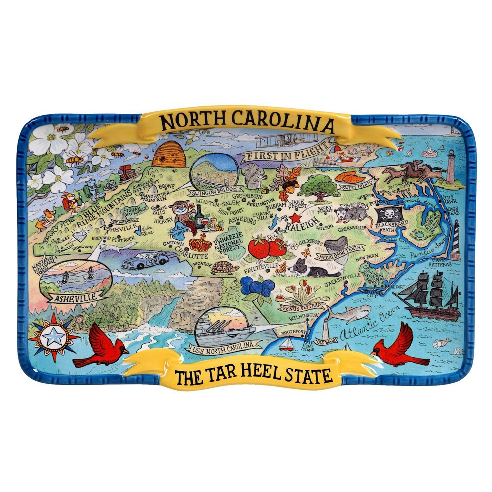 13 34 X 8 34 Earthenware North Carolina State Souvenir Serving Platter Certified International