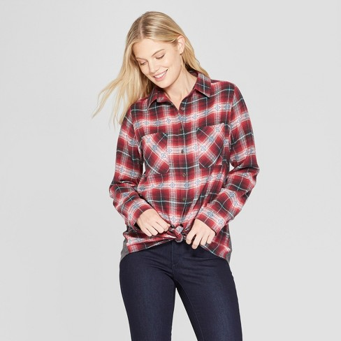 Women's Long Sleeve Thermal Back Button-Down Top - Knox Rose™ Red - image 1 of 2